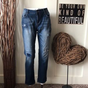Cato Denim jeans with distressed plaid patches